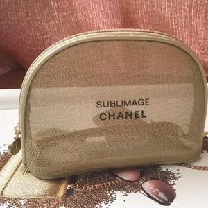 🎀Chanel Beaute Vip Gold Mesh Cosmetic Pouch
